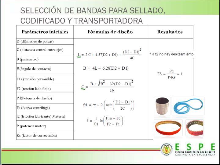 SELECCIÓN DE BANDAS PARA SELLADO, CODIFICADO Y TRANSPORTADORA