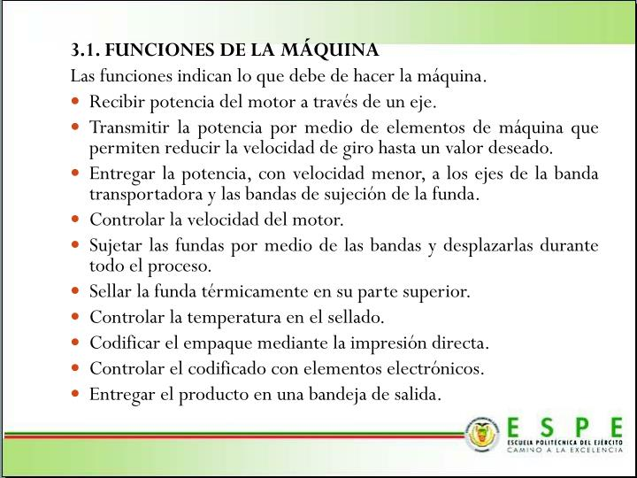 3.1. FUNCIONES DE LA MÁQUINA