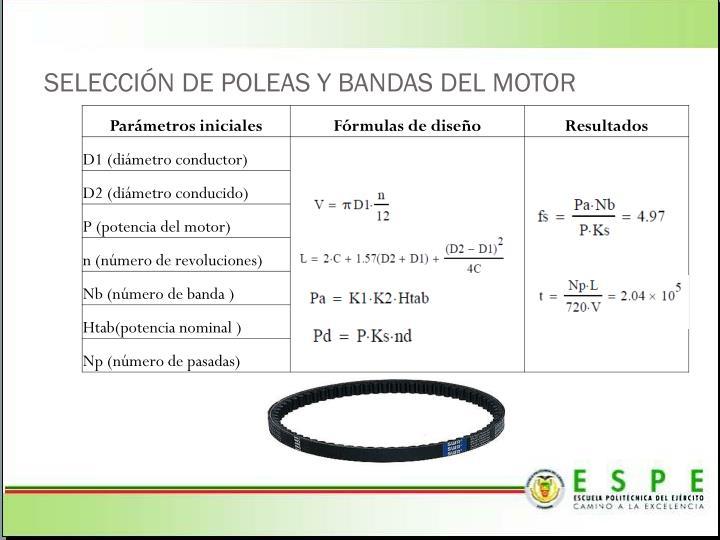 SELECCIÓN DE POLEAS Y BANDAS DEL MOTOR