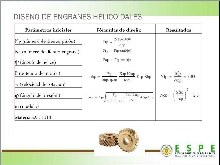 DISEÑO DE ENGRANES HELICOIDALES