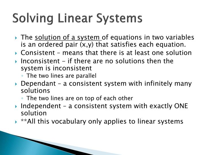 Solving Linear Systems