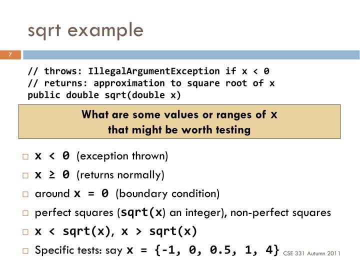 sqrt example