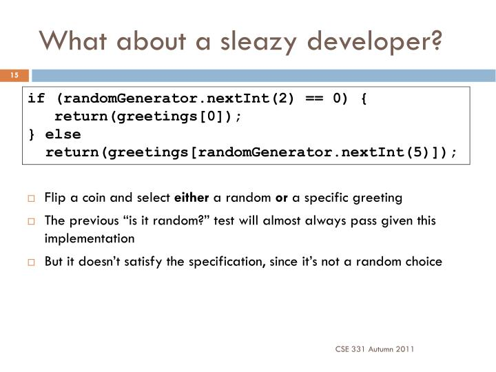 What about a sleazy developer?