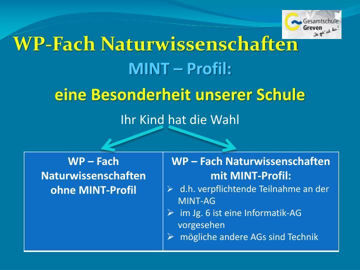 WP-Fach Naturwissenschaften