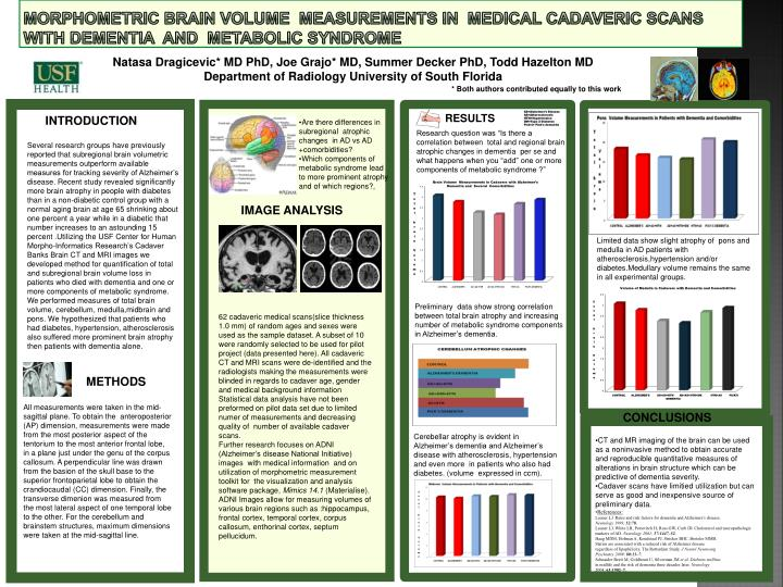 MORPHOMETRIC brain volume  measurements in  medical cadaveric scans             WITH DEMENTIA  and  metabolic syndrome