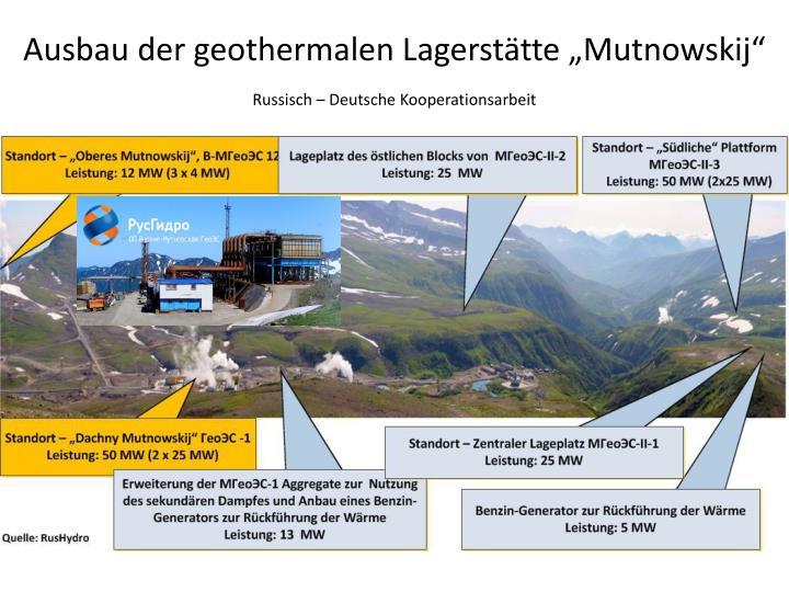 """Ausbau der geothermalen Lagerstätte """"Mutnowskij"""""""