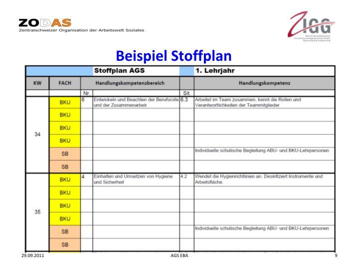 Beispiel Stoffplan