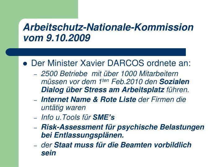 Arbeitschutz-Nationale-Kommission vom 9.10.2009