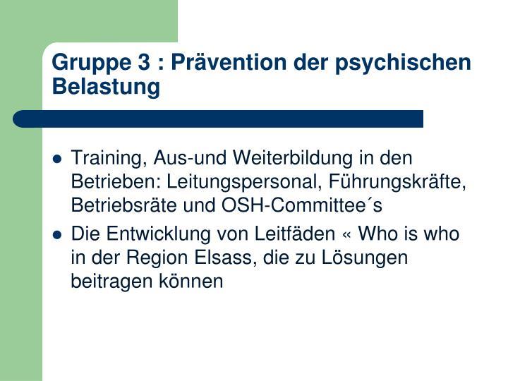 Gruppe 3 : Prävention der psychischen Belastung