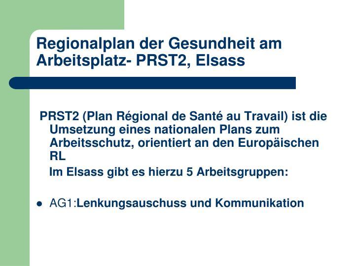 Regionalplan der Gesundheit am Arbeitsplatz- PRST2, Elsass