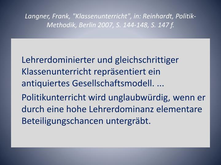 """Langner, Frank, """"Klassenunterricht"""", in: Reinhardt,"""