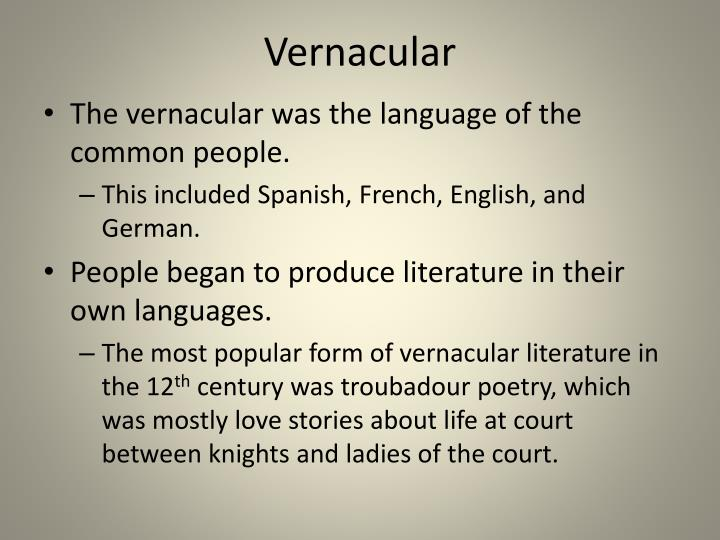 vernacular language essay
