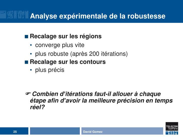 Analyse expérimentale de la robustesse