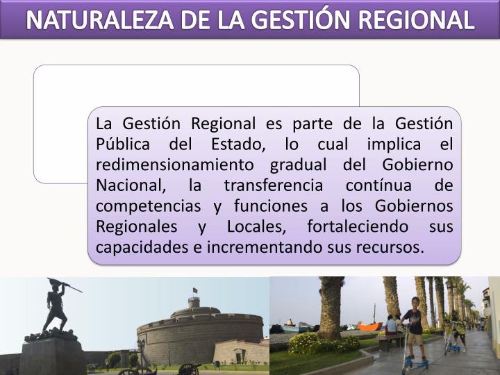 NATURALEZA DE LA GESTIÓN REGIONAL