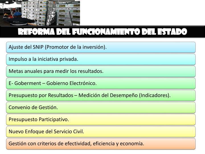 Reforma del funcionamiento del estado