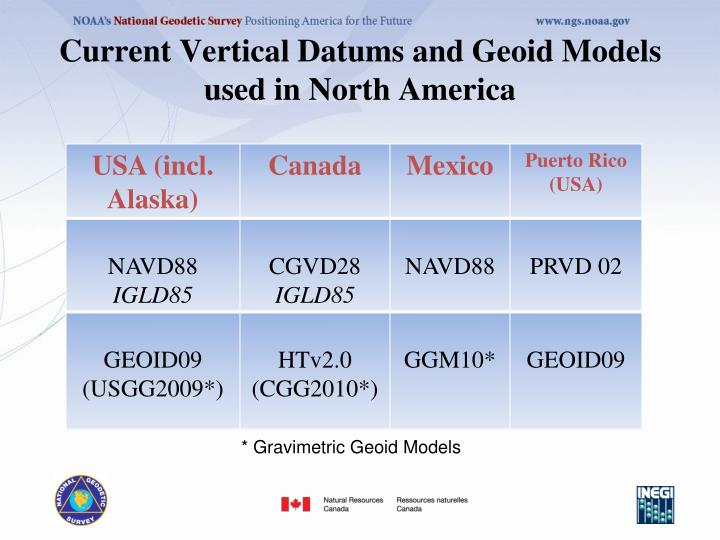 Current Vertical Datums and Geoid Models used in North America