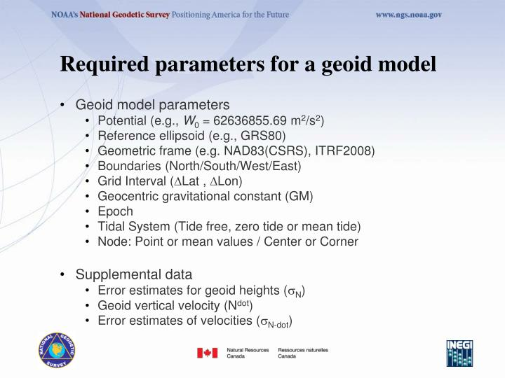 Required parameters for a geoid model