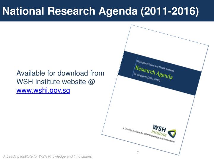 National Research Agenda (2011-2016)