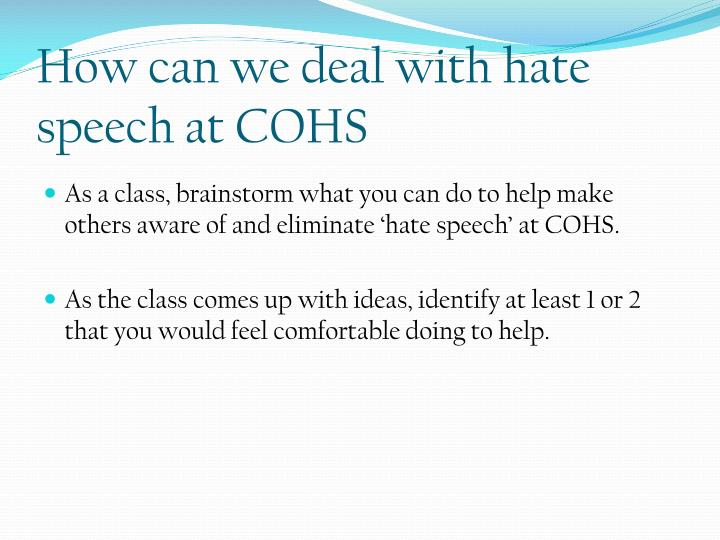 How can we deal with hate speech at COHS