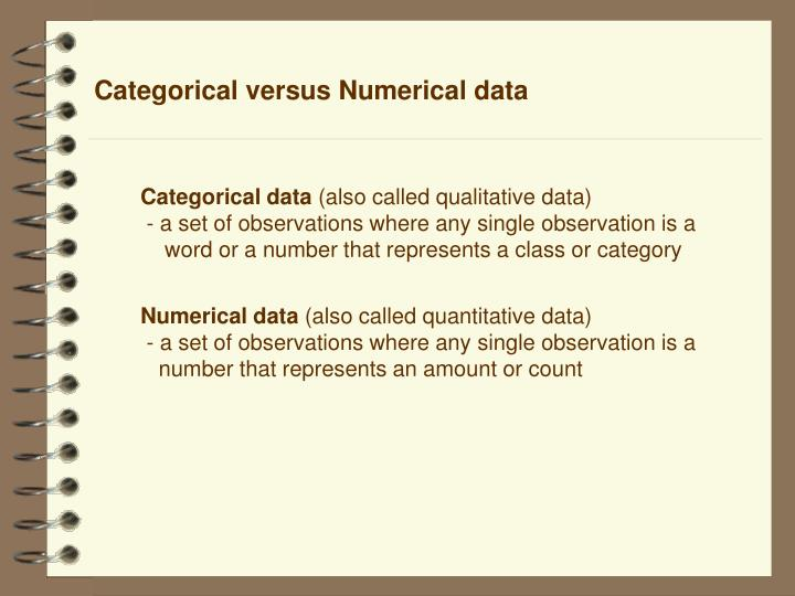 Categorical versus Numerical data