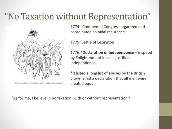 """No Taxation without Representation"""