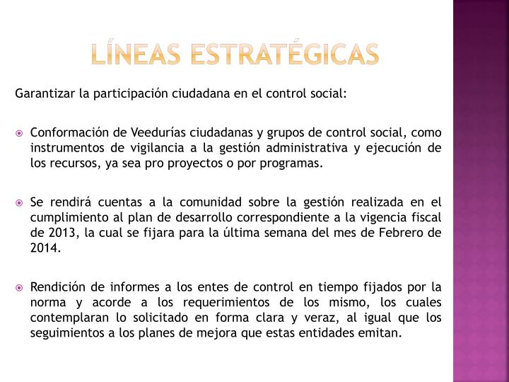 Líneas estratégicas