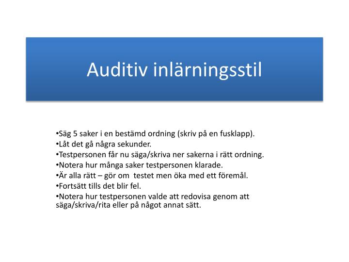 Auditiv inlärningsstil