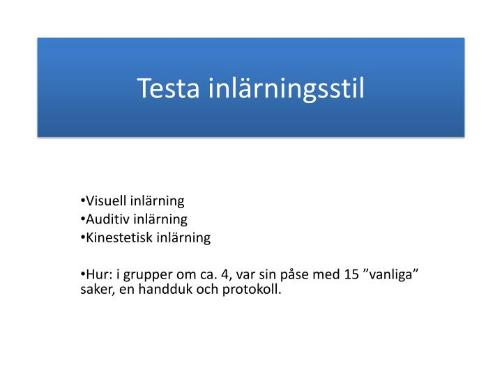 Testa inlärningsstil