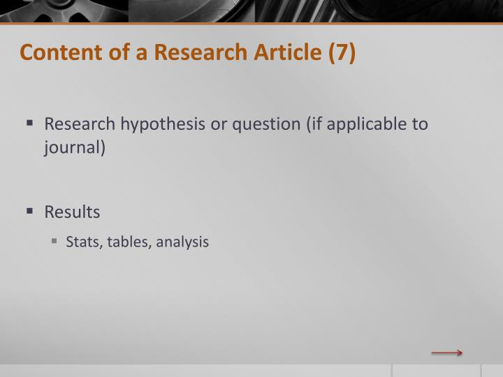 Content of a Research Article (7)