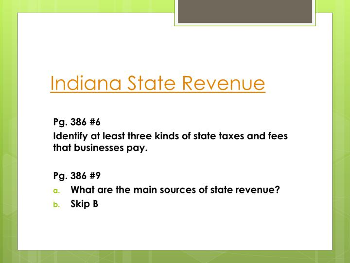 Indiana State Revenue