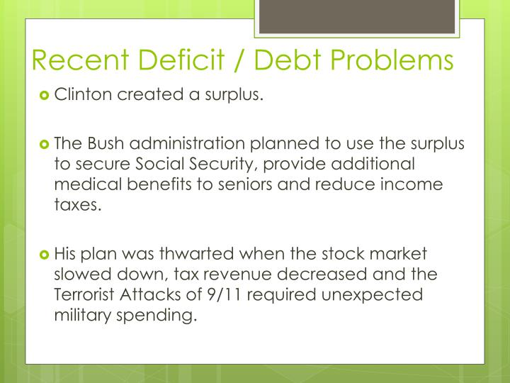 Recent Deficit / Debt Problems