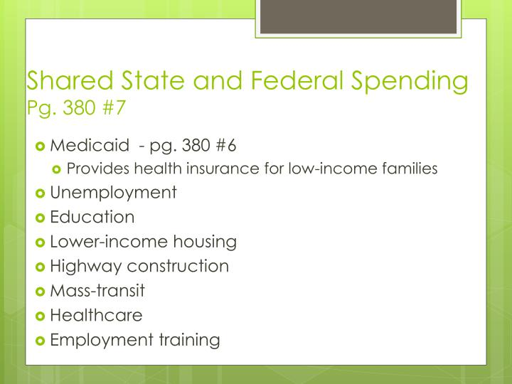 Shared State and Federal Spending
