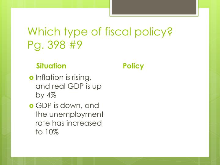Which type of fiscal policy?
