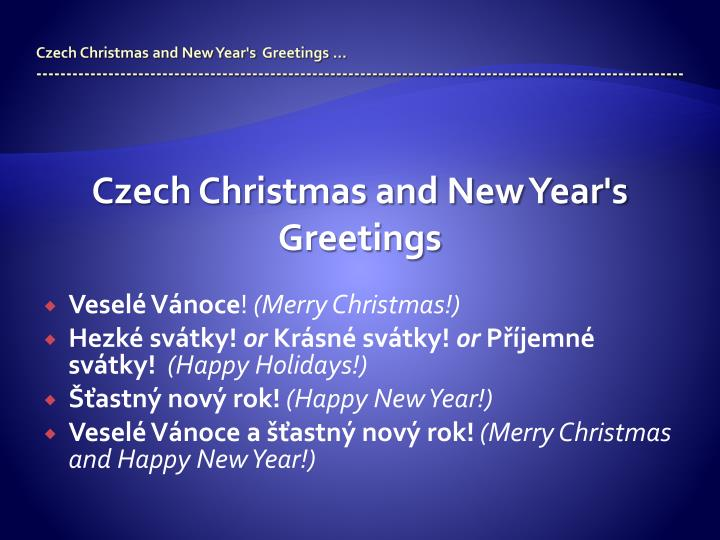Czech Christmas and New Year's