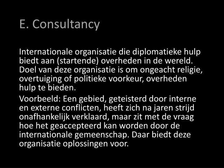 E. Consultancy