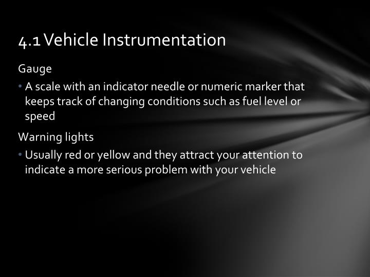 4.1 Vehicle Instrumentation
