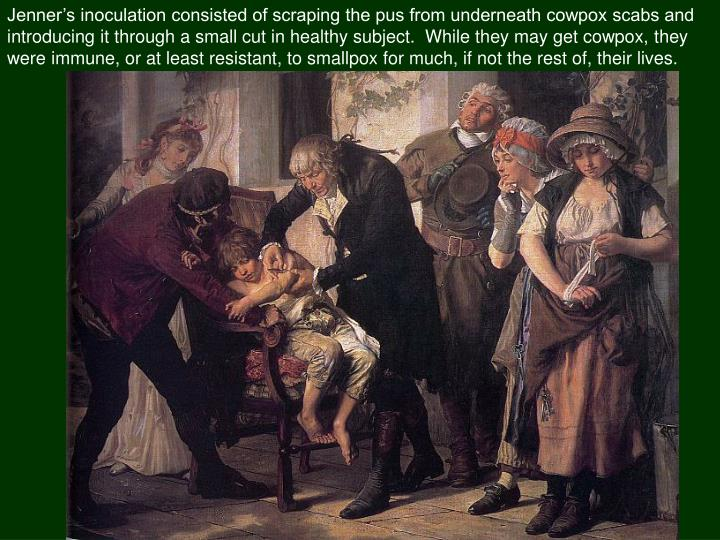 Jenner's inoculation consisted of scraping the pus from underneath cowpox scabs and introducing it through a small cut in healthy subject.  While they may get cowpox, they were immune, or at least resistant, to smallpox for much, if not the rest of, their lives.