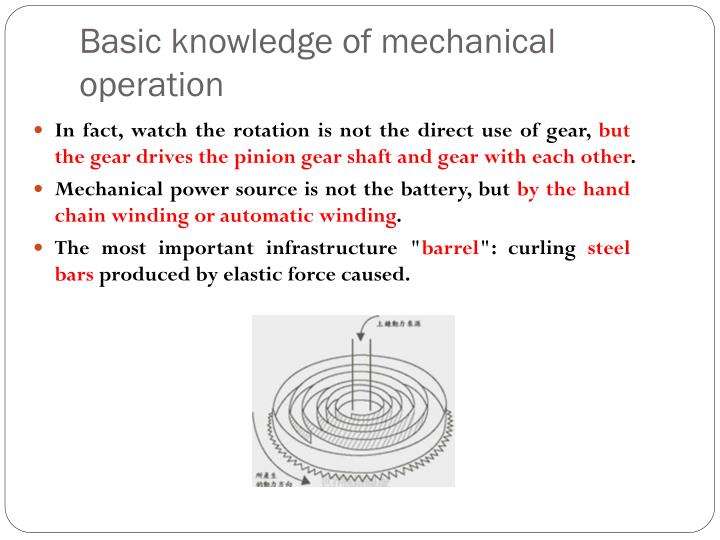 Basic knowledge of mechanical operation