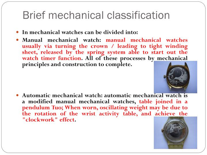 Brief mechanical classification