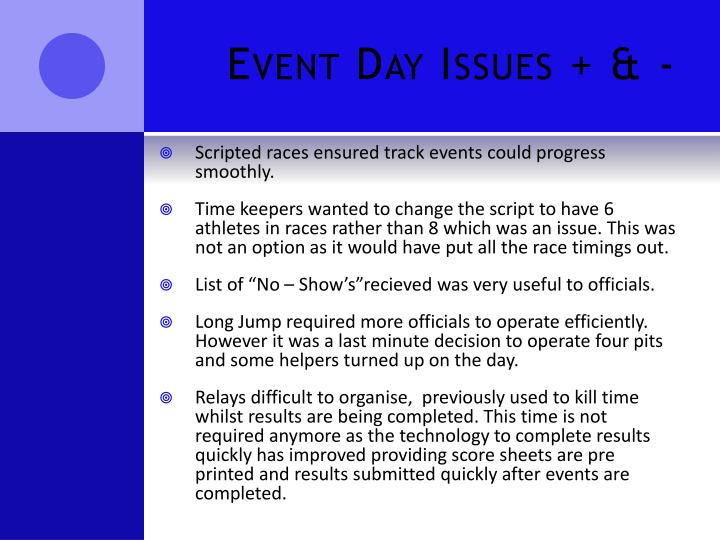 Event Day Issues + & -