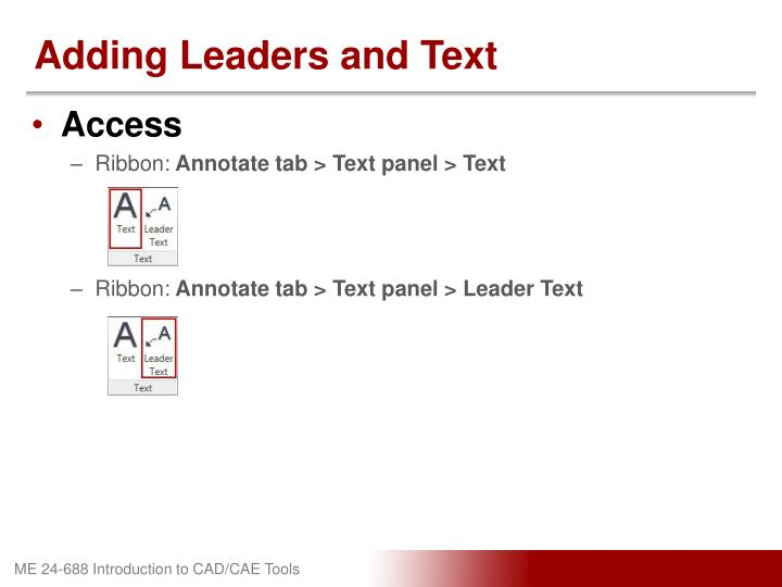 Adding Leaders and Text