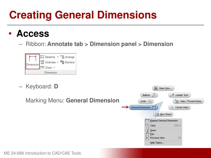 Creating General Dimensions