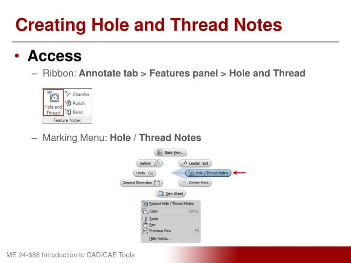 Creating Hole and Thread Notes