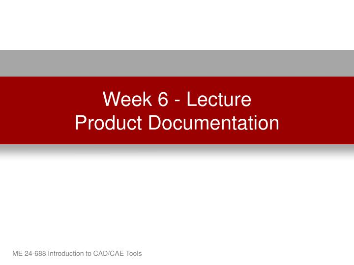 Week 6 lecture product documentation