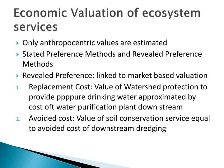 Economic Valuation of ecosystem services