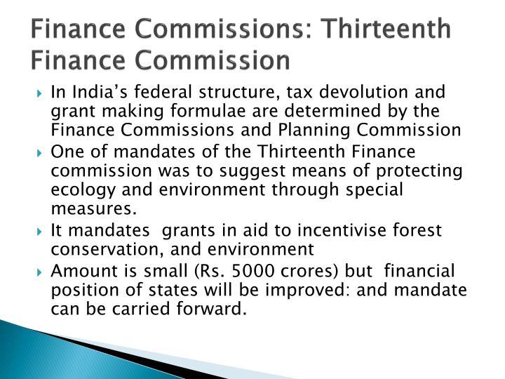 Finance Commissions: Thirteenth Finance Commission