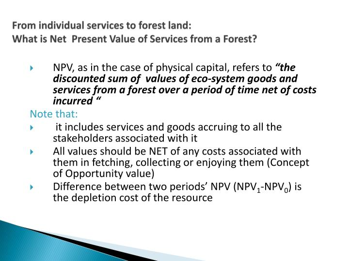 From individual services to forest land: