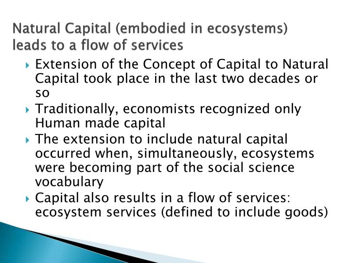 Natural capital embodied in ecosystems leads to a flow of services