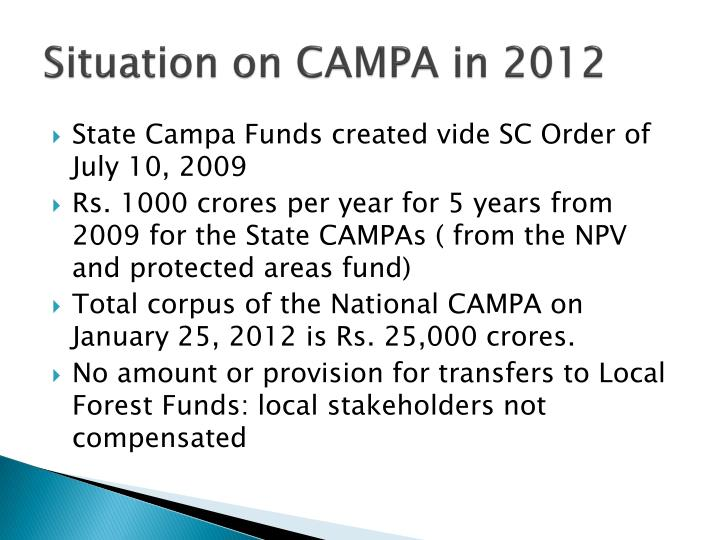 Situation on CAMPA in 2012