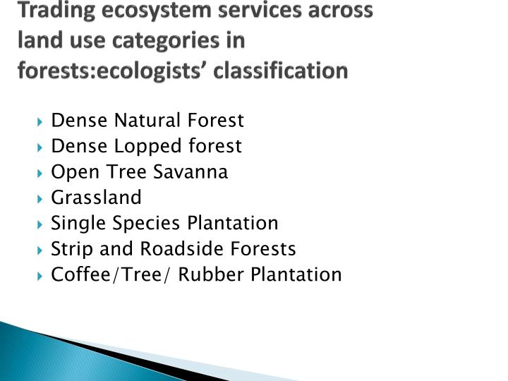 Trading ecosystem services across land use categories in